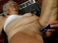 Hairy Granny loves dildos